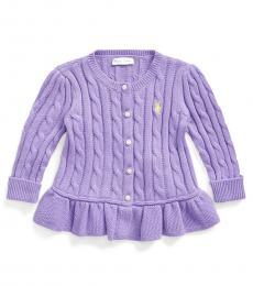 Ralph Lauren Baby Girls Purple Peplum Cardigan