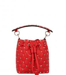 Valentino Garavani Red Rockstud Mini Bucker Bag