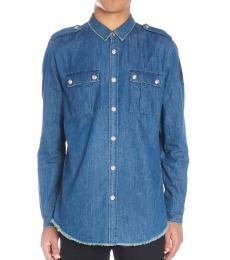 Balmain Blue Denim Logo Shirt