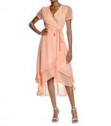 Peach Leopard Print Wrap Midi Dress