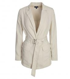 Armani Jeans Beige Notch Lapel Trench Coat
