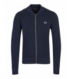 Dark Blue Knitted Logo Jacket