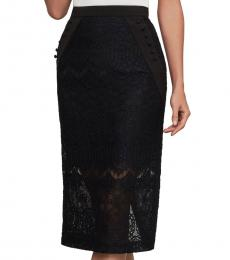 Black Ornate Floral Lace Pencil Skirt