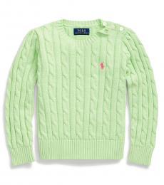 Ralph Lauren Little Girls Key Lime Cable-Knit Sweater