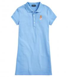 Ralph Lauren Girls Blue Madras Bear Mesh Polo Dress