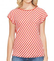 Vince Camuto Red Gingham Front Cap Sleeve Top
