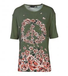 Love Moschino Olive Floral Print Top