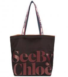 See by Chloe Black Logo Large Tote