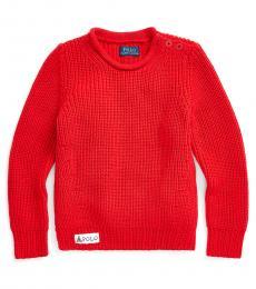 Ralph Lauren Little Girls Red Rollneck Sweater