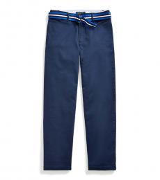 Ralph Lauren Boys Newport Navy Belted Stretch Skinny Chinos