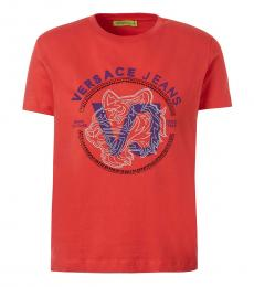 Versace Jeans Red Crew Neck Logo T-Shirt