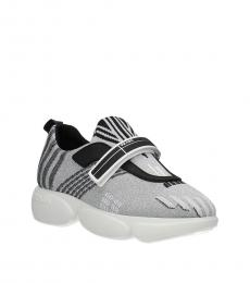 Prada Silver Velcro Closure Sneakers
