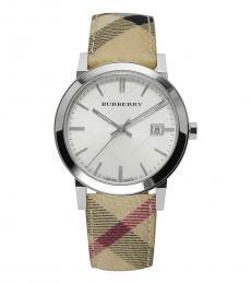 Burberry Beige-Brown Haymarket Check Dial Watch