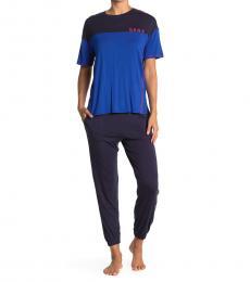 DKNY Navy Blue Cropped 2-Piece Pajama Set
