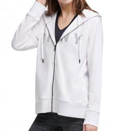 DKNY White Logo Zip-Up Hoodie