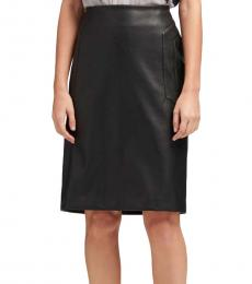 DKNY Black Faux-Leather Pencil Skirt