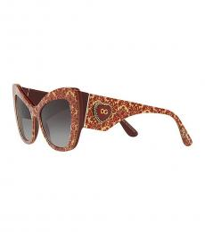 Dolce & Gabbana Red Gold Cat Eye Sunglasses