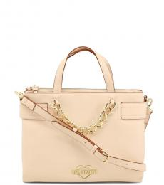 Love Moschino Beige Chain Medium Satchel