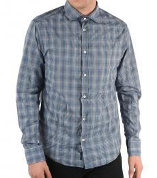 Armani Jeans Blue Gingham Custom Fit Shirt