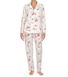 Ralph Lauren Ivory Floral Fleece Packaged Pajama Set