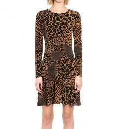Caramel Printed Tiered-Hem Dress