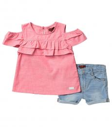 7 For All Mankind 2 Piece Top/Shorts Set (Little Girls)