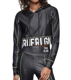 True Religion Black Performance Crop Hoodie