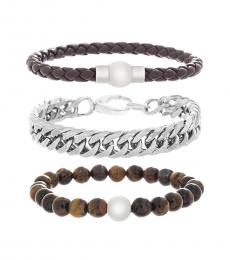 Ben Sherman Brown Mixed Materials Bracelet Set
