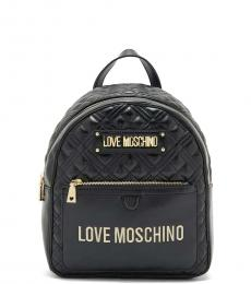 Love Moschino Black Quilted Small Backpack