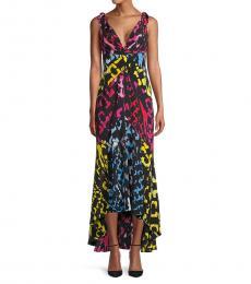 Diane Von Furstenberg Black Printed High-Low Silk Dress
