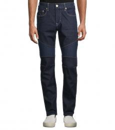 True Religion Dark Blue Rocco Relaxed Skinny Moto Jeans
