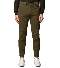 Fay Olive Stretch Gabardine Pants