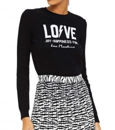 Love Moschino Black Jacquard And Ribbed-Knit Sweater