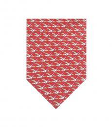 Salvatore Ferragamo Red Flying Birds Print Tie
