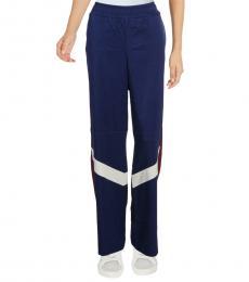 Blue Satin Colorblock Retro Stripe Track Pants
