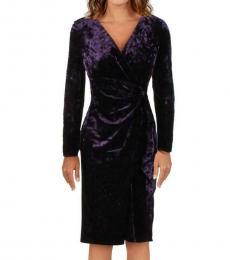Ralph Lauren Regal Plum Velvet V-Neck Wrap Dress