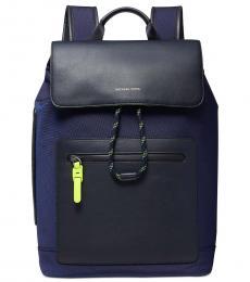 Michael Kors Navy Brooklyn Flap Large Backpack