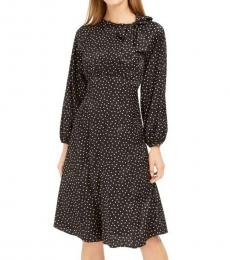Calvin Klein Black Polka Dot Tie Neck Dress