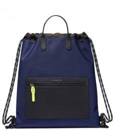 Michael Kors Navy Brooklyn Drawstring Large Backpack