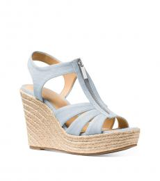 Michael Kors Pale Blue Berkley Wedges