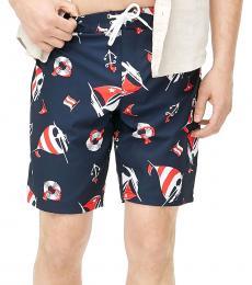 J.Crew Navy Blue Sailboat Print Board Shorts
