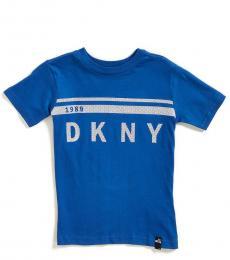 Little Boys Blue Metallic Mesh Logo T-Shirt