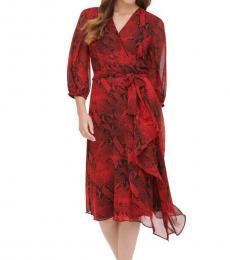 Calvin Klein Red Printed V-Neck Party Wrap Dress