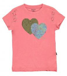 DKNY Girls Rose Flip Sequin Hearts T-Shirt