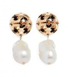 Tory Burch Golden Abstract Pearl Earrings