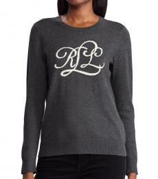 Ralph Lauren Dark Grey Intarsia-Knit-Logo Sweater
