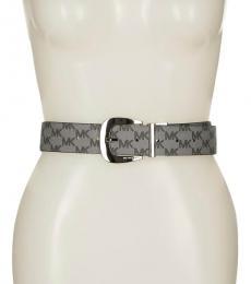 Michael Kors Light Grey-Black Reversible Logo Belt