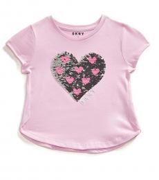 DKNY Little Girls Prism Pink Sequin Heart T-Shirt