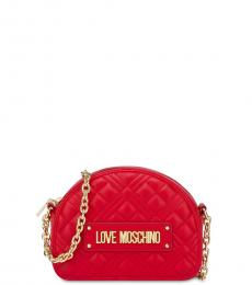 Love Moschino Red Quilted Mini Crossbody Bag