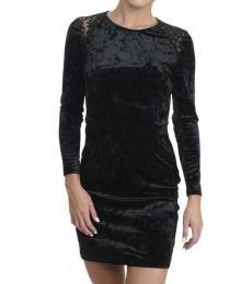 Juicy Couture Pitch Black Velour Lace-Back Mini Dress
